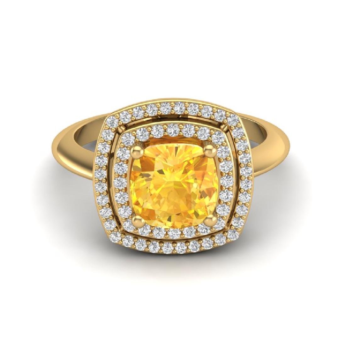1.77 CTW Citrine & Micro VS/SI Diamond Pave Halo Ring