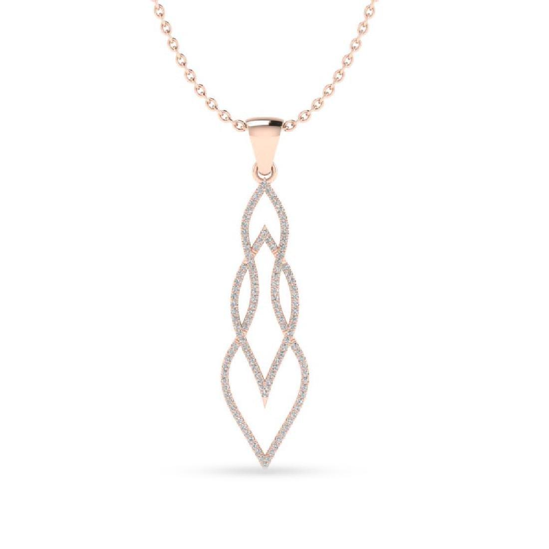 0.80 CTW Micro Pave VS/SI Diamond Necklace 14K Rose