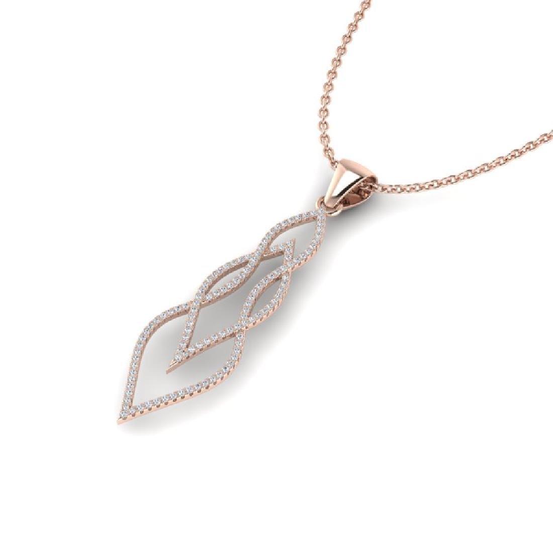 0.80 CTW Micro Pave VS/SI Diamond Necklace 14K Rose - 2