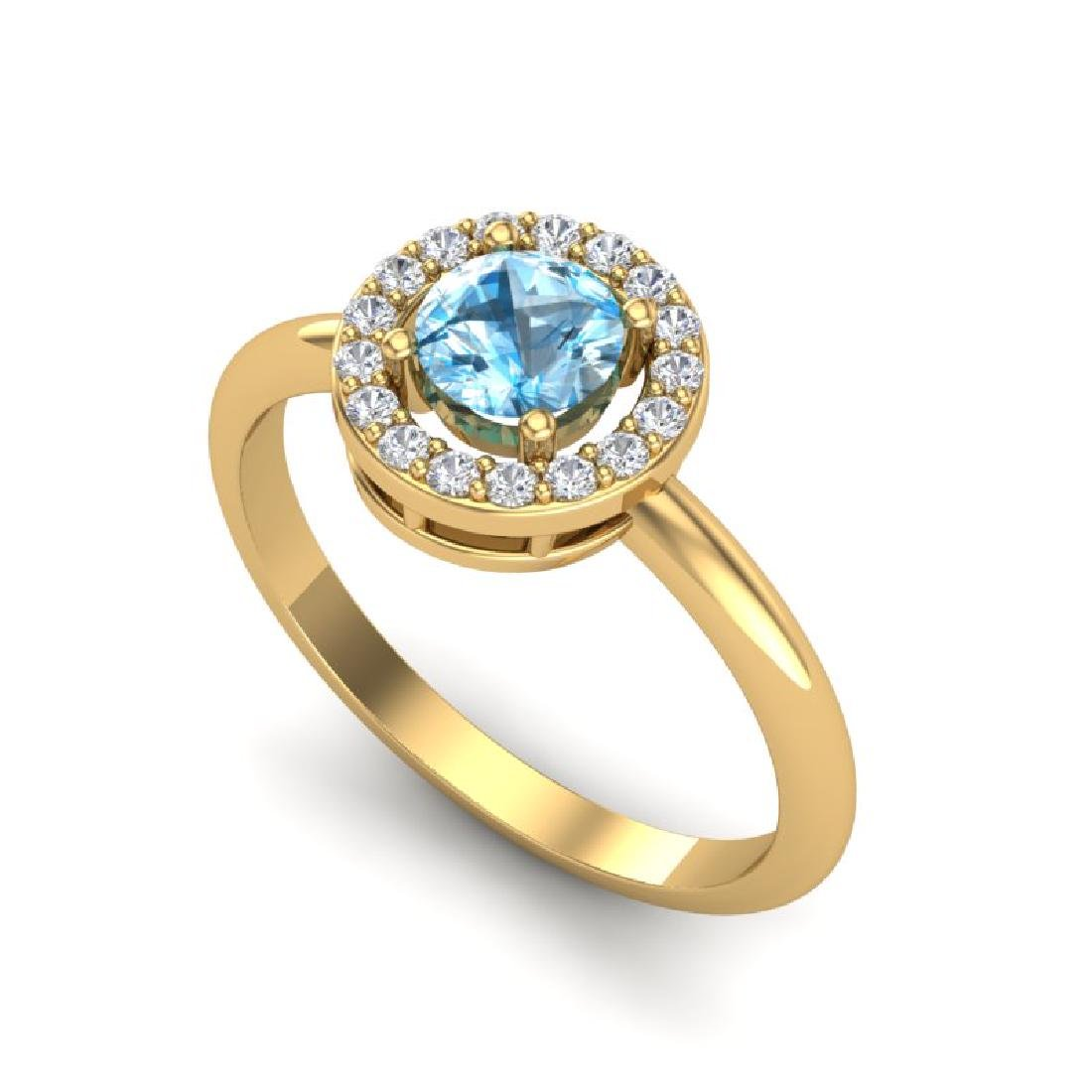 0.75 CTW Sky Blue Topaz & Micro Pave Halo VS/SI Diamond - 2