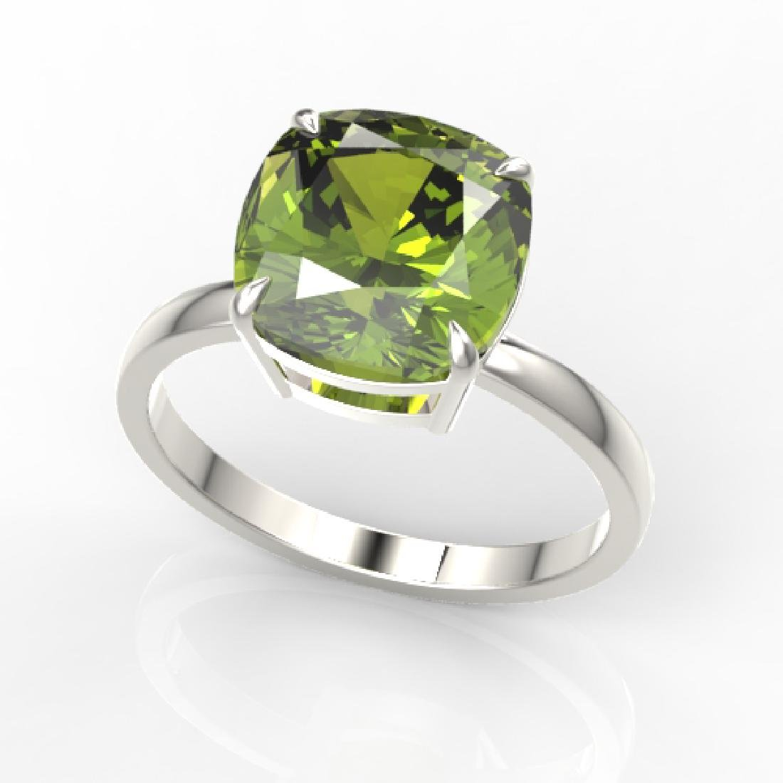 6 CTW Cushion Cut Green Tourmaline Designer Solitaire - 2