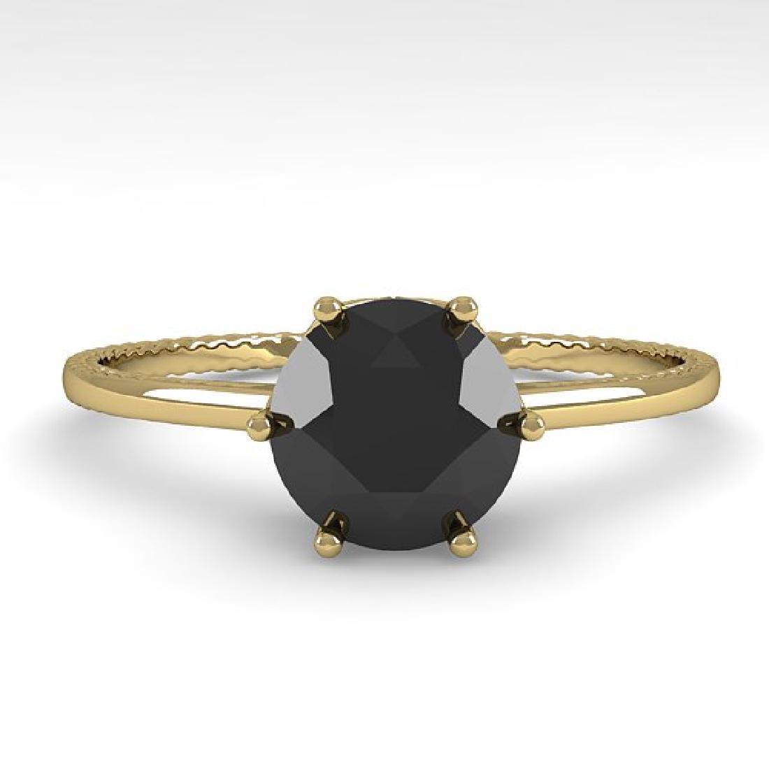 1.0 CTW Black Diamond Art Deco Ring 14K Yellow Gold