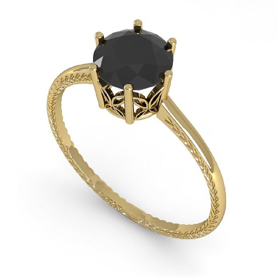 1.0 CTW Black Diamond Art Deco Ring 14K Yellow Gold - 2