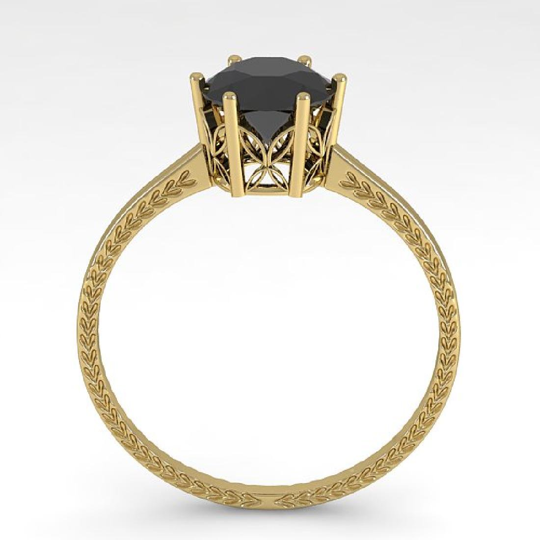 1.0 CTW Black Diamond Art Deco Ring 14K Yellow Gold - 3