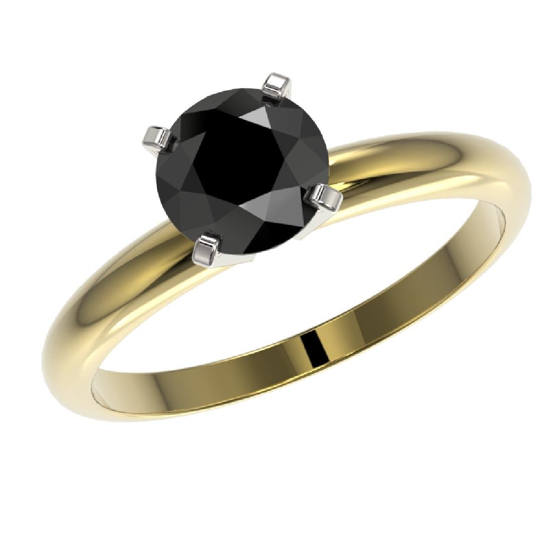 1.25 CTW Fancy Black VS Diamond Solitaire Engagement - 2