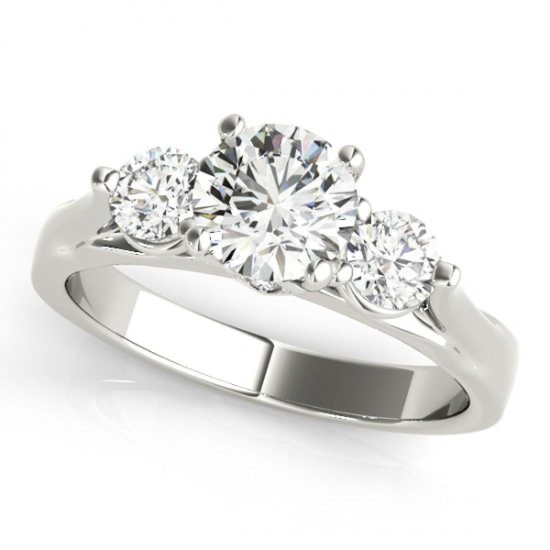 1.5 CTW Certified VS/SI Diamond 3 Stone Ring 14K White