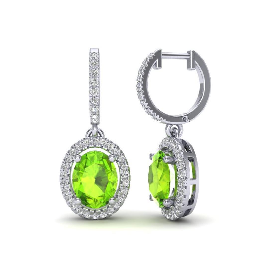 3.75 CTW Peridot & Micro Pave VS/SI Diamond Earrings - 2