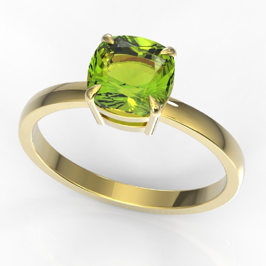 2 CTW Cushion Cut Peridot Solitaire Engagement Ring 18K - 2