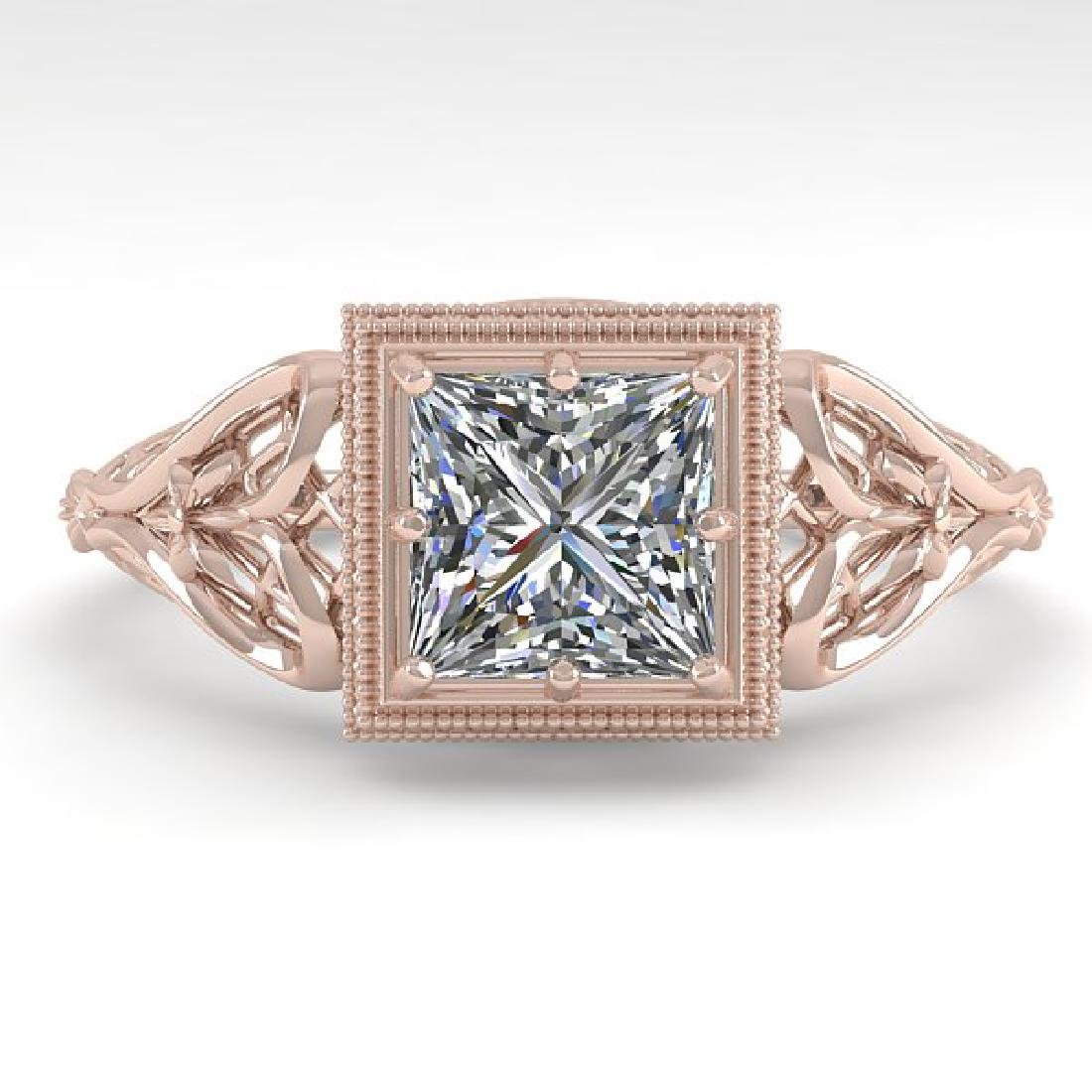 1.0 CTW VS/SI Princess Diamond Solitaire Ring Art Deco