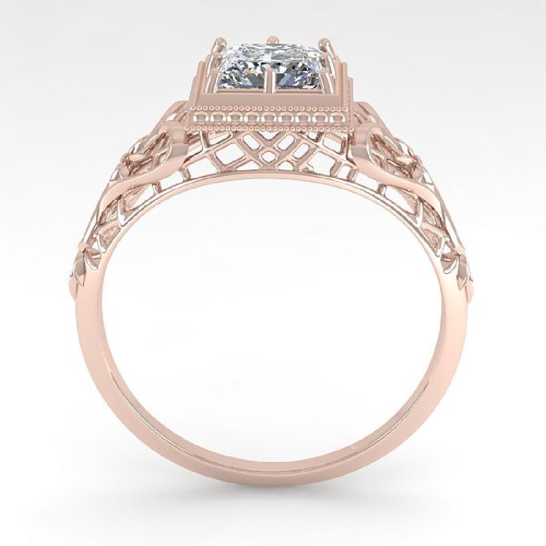 1.0 CTW VS/SI Princess Diamond Solitaire Ring Art Deco - 3