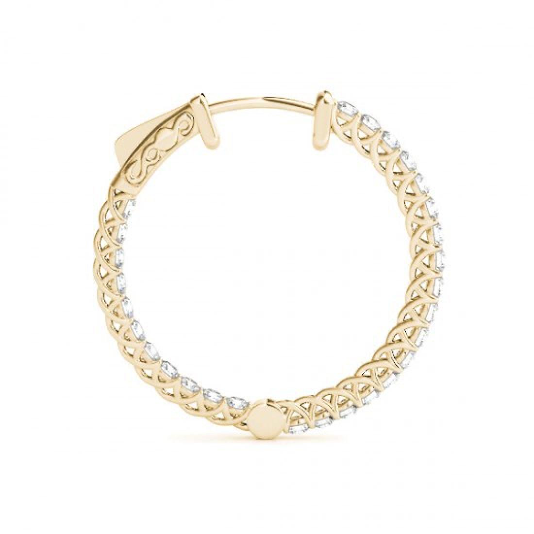 2.75 CTW Diamond VS/SI Certified 37 Mm Hoop Earrings - 3