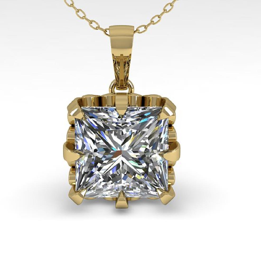1 CTW Certified VS/SI Princess Diamond Necklace 14K - 2