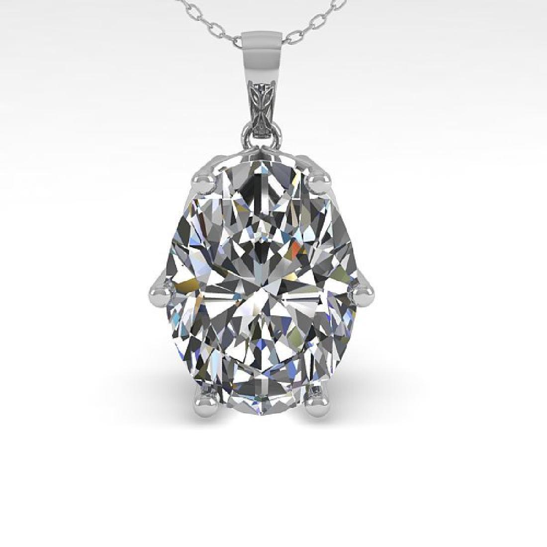 1 CTW VS/SI Oval Diamond Art Deco Necklace 14K White - 2