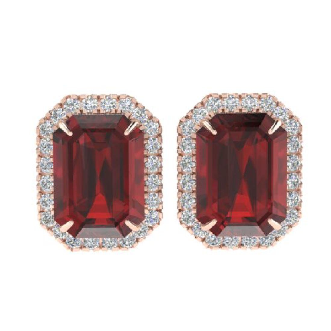 12 CTW Garnet And Micro Pave VS/SI Diamond Halo