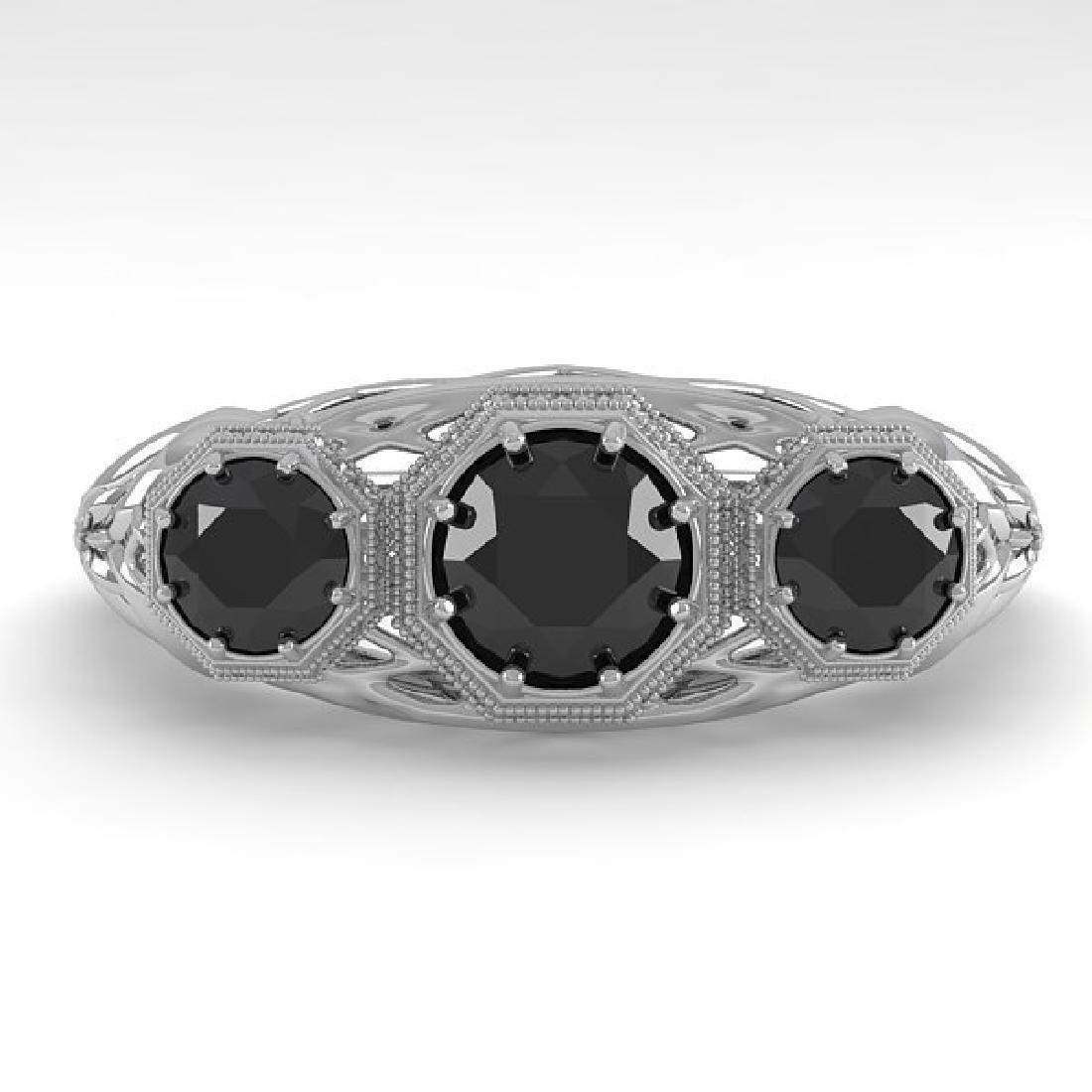 1.00 CTW Black Diamond Art Deco Ring 14K White Gold