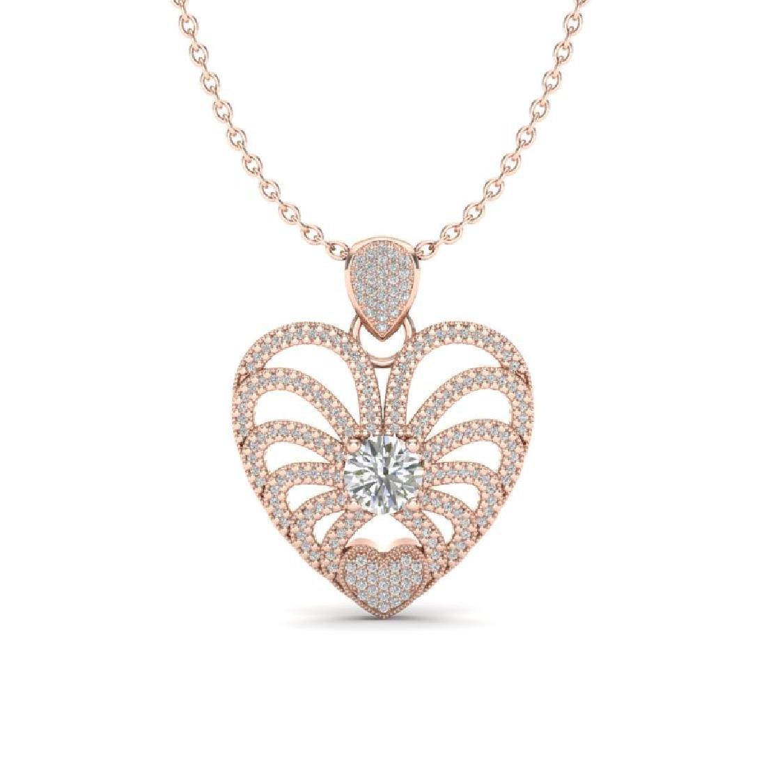 3 CTW Micro Pave VS/SI Diamond Heart Necklace 14K Rose