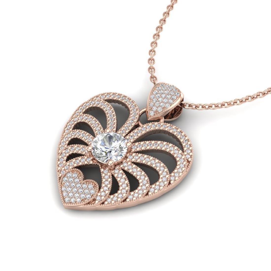 3 CTW Micro Pave VS/SI Diamond Heart Necklace 14K Rose - 2