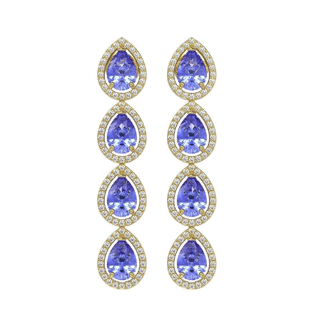 9.01 CTW Tanzanite & Diamond Halo Earrings 10K Yellow