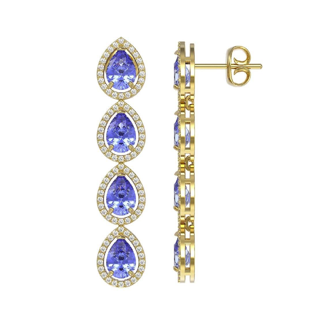 9.01 CTW Tanzanite & Diamond Halo Earrings 10K Yellow - 2