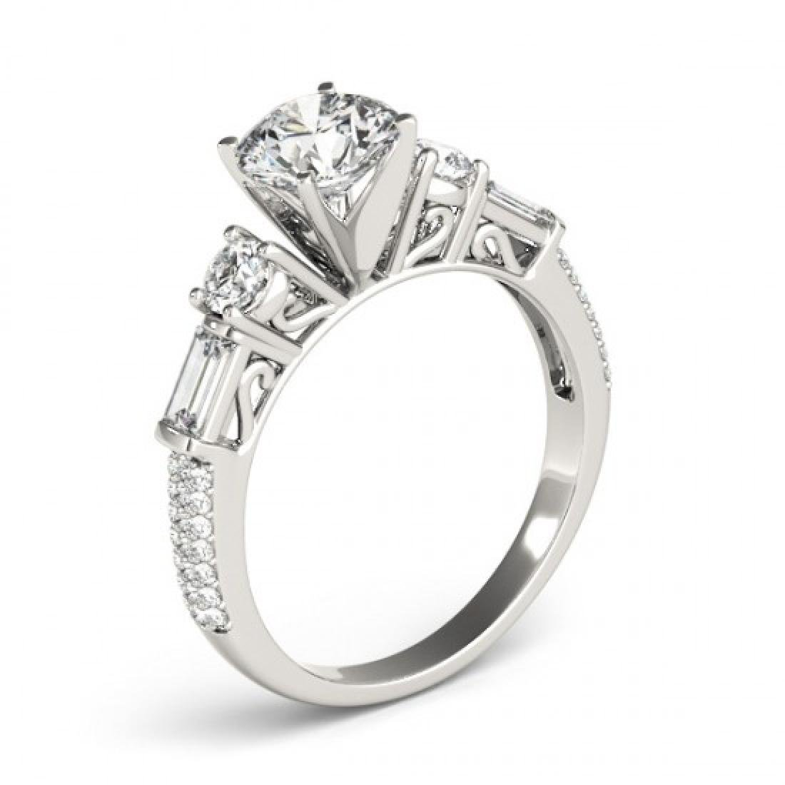 2.5 CTW Certified VS/SI Diamond Pave Solitaire Ring 14K - 3