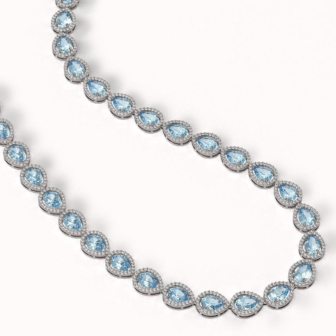 33.35 CTW Aquamarine & Diamond Halo Necklace 10K White - 2