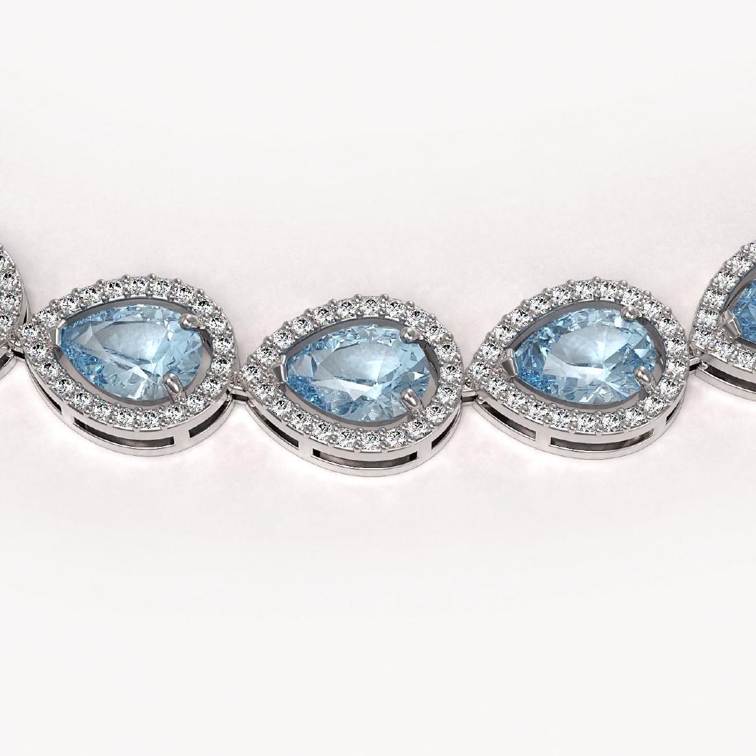 33.35 CTW Aquamarine & Diamond Halo Necklace 10K White - 3