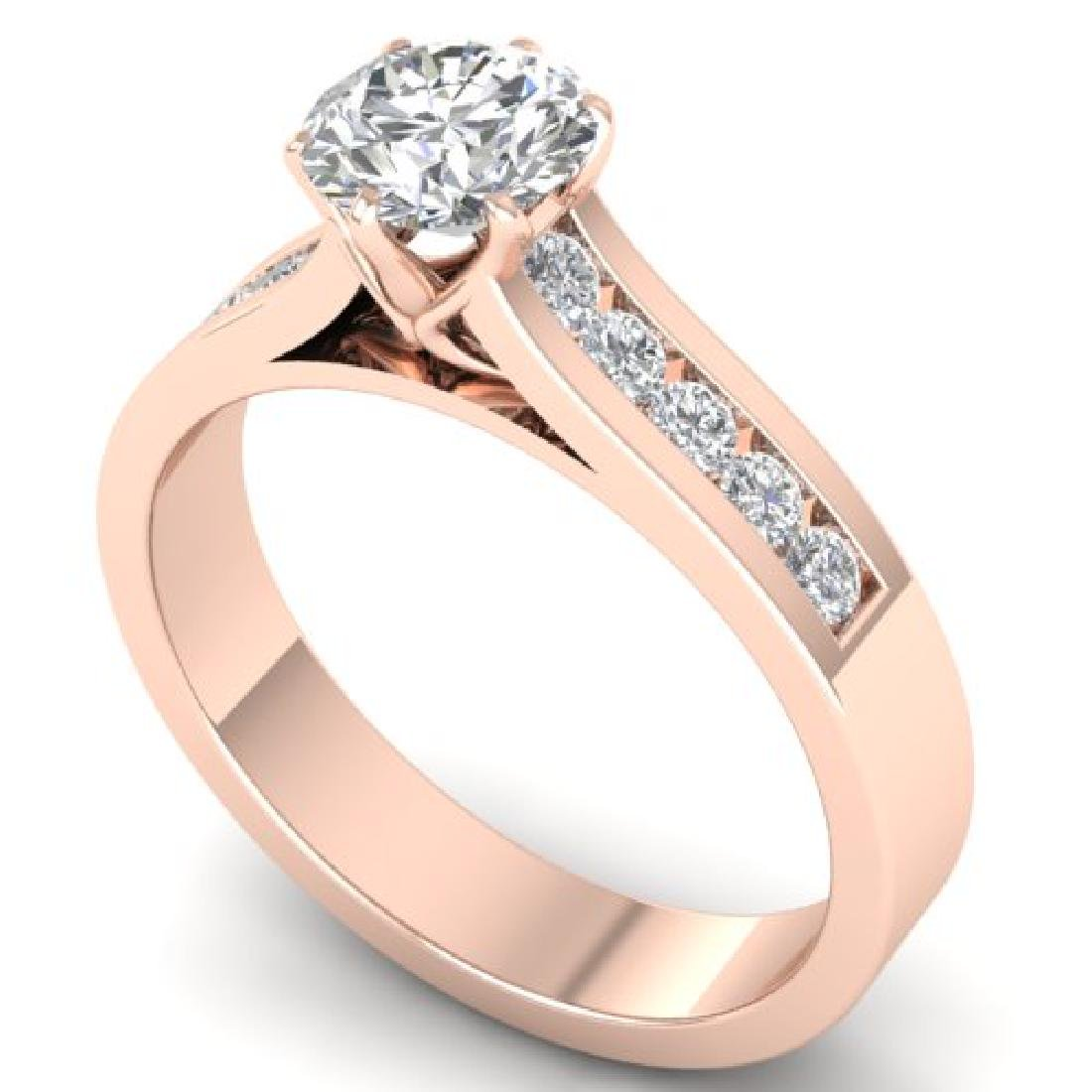 1.1 CTW Certified VS/SI Diamond Solitaire Art Deco Ring - 2