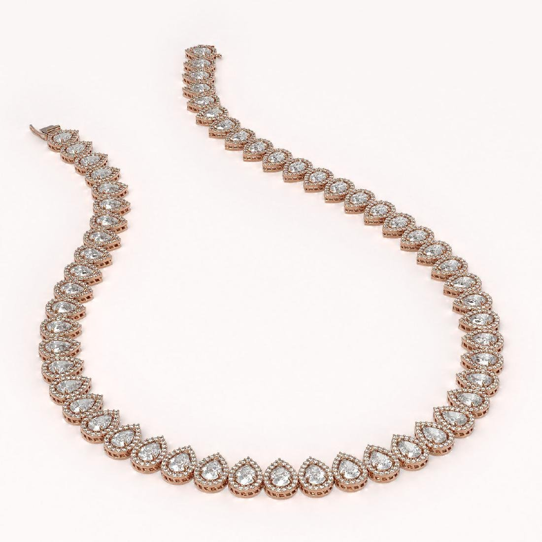 34.83 CTW Pear Diamond Designer Necklace 18K Rose Gold - 2