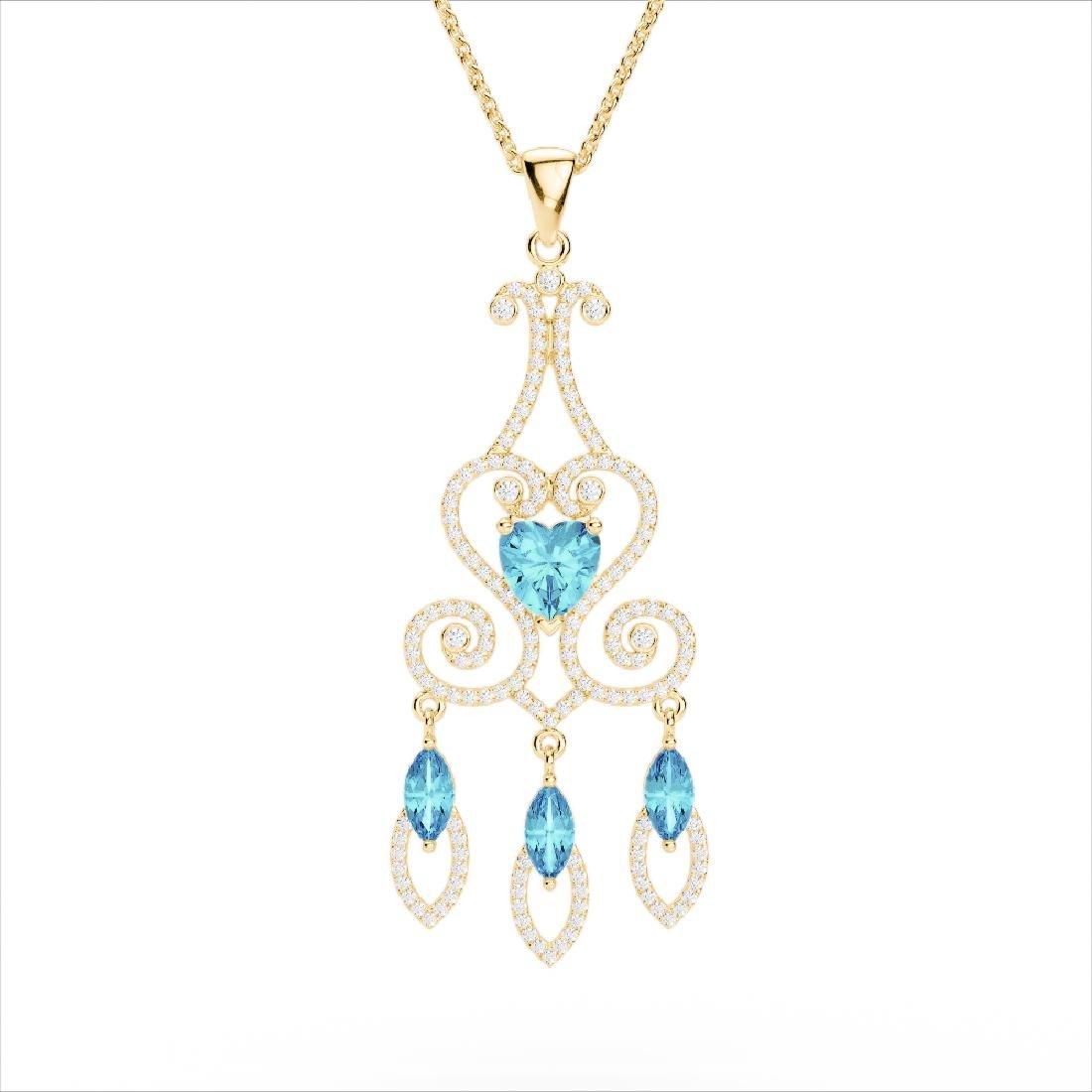 5.50 CTW Blue Topaz & Micro Pave VS/SI Diamond Heart - 3