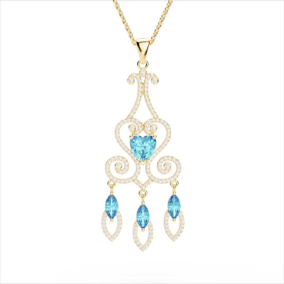 5.50 CTW Blue Topaz & Micro Pave VS/SI Diamond Heart - 3
