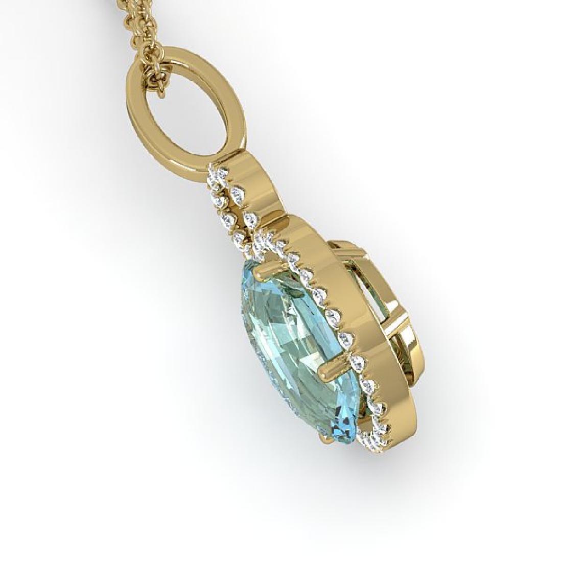 4 CTW Sky Blue Topaz & Pave Halo VS/SI Diamond Necklace - 2