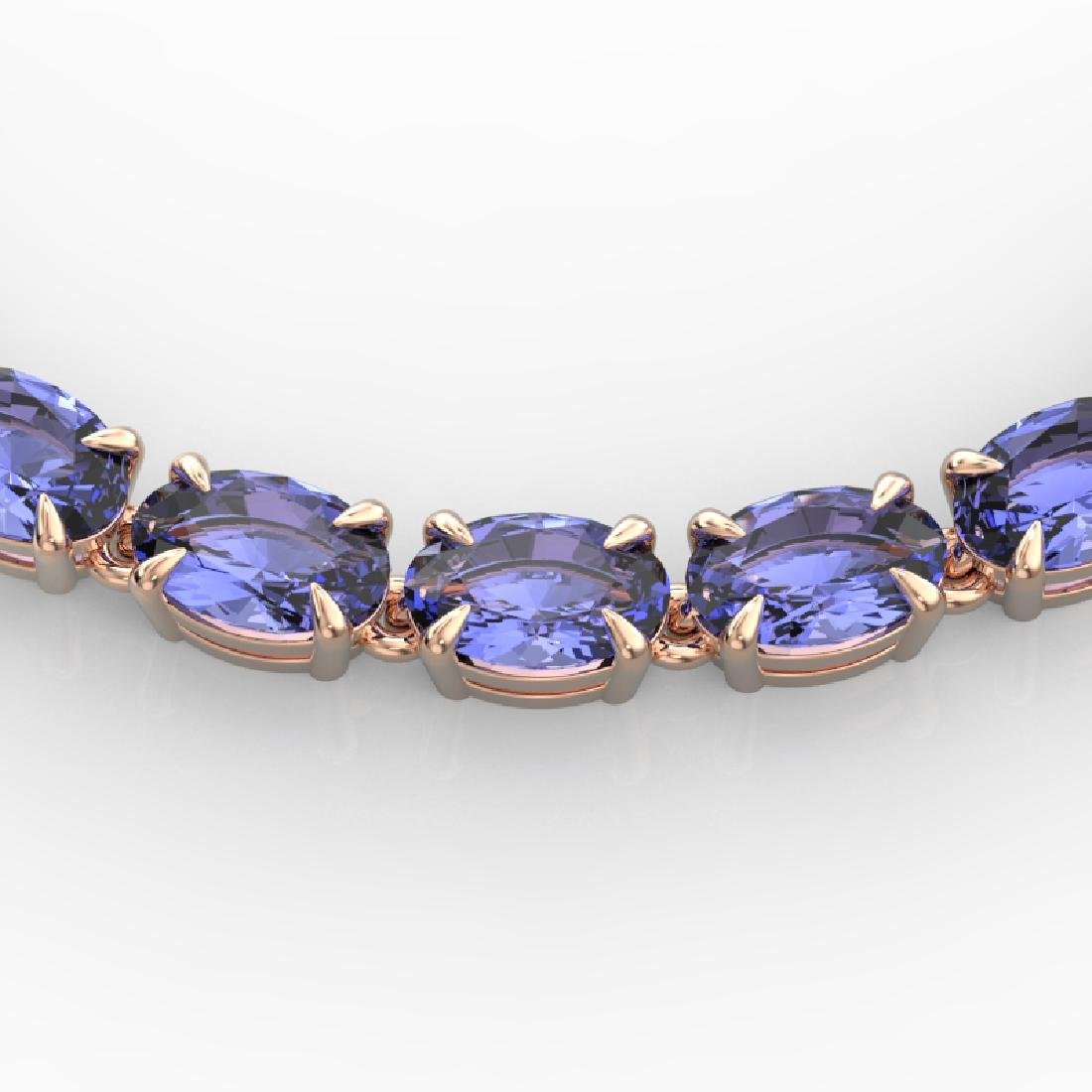40 CTW Tanzanite Eternity Tennis Necklace 14K Rose Gold