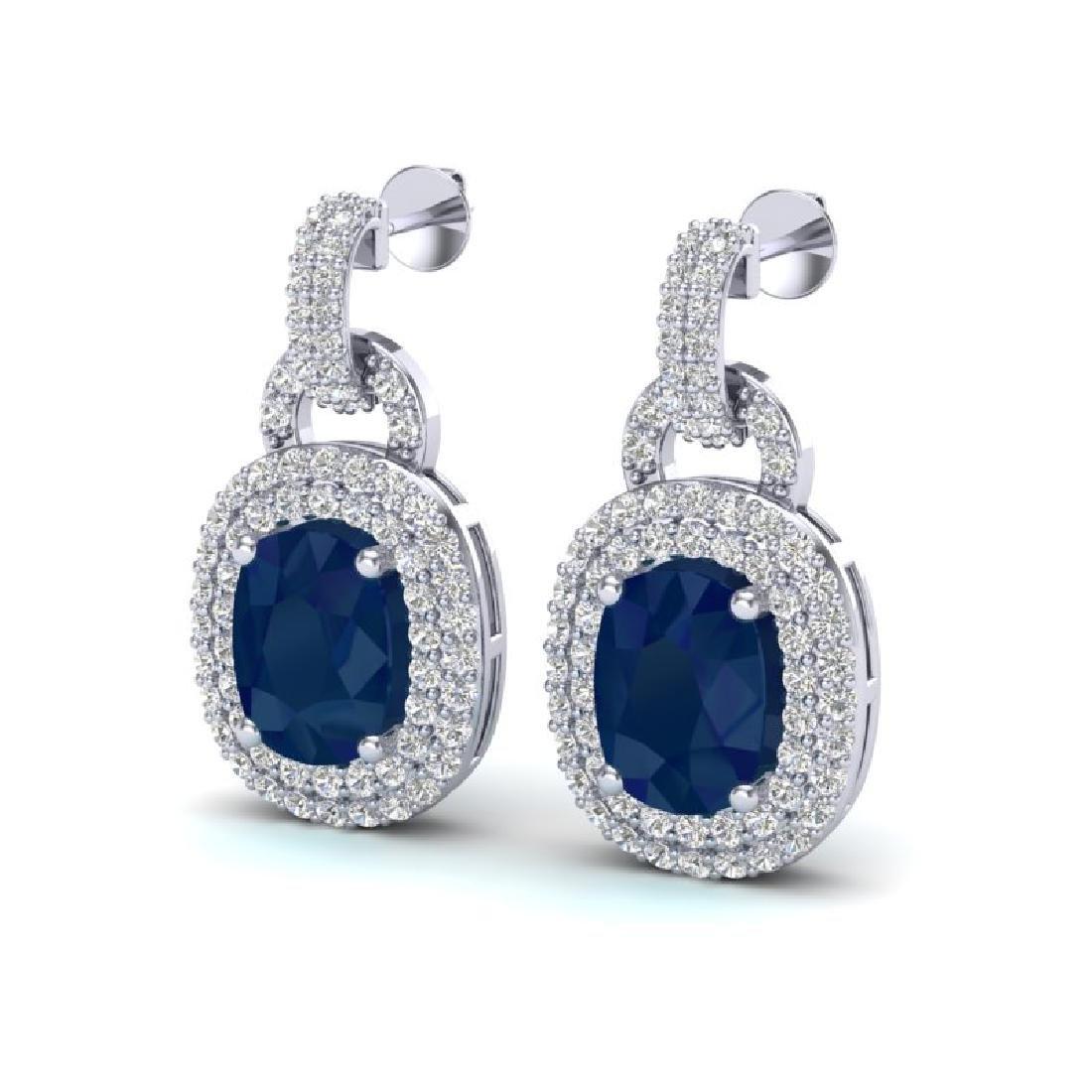 5 CTW Sapphire And Micro VS/SI Diamond Pave Earrings