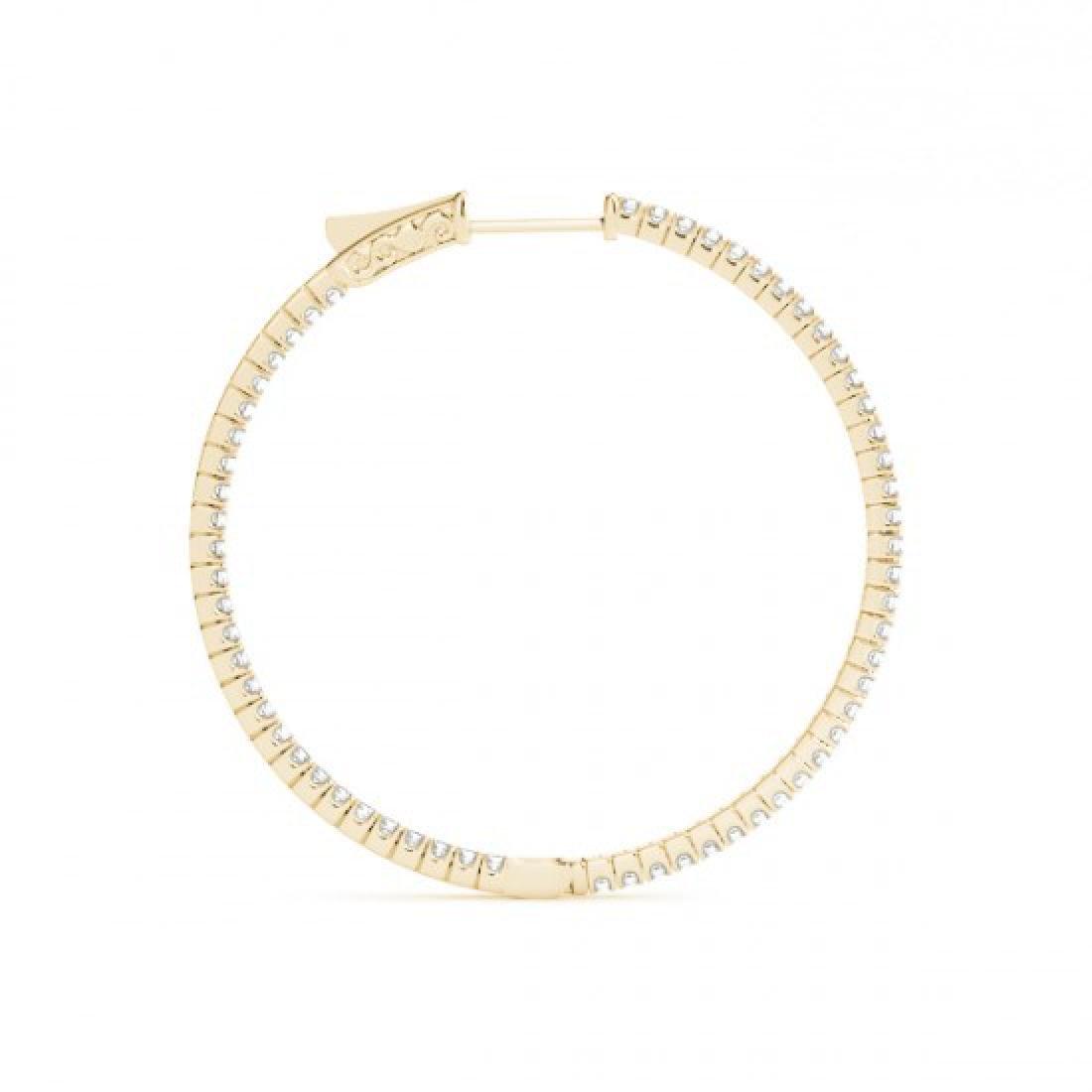 1 CTW Diamond VS/SI Certified 24 Mm Hoop Earrings 14K - 3