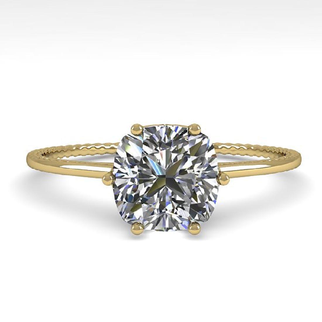 1.0 CTW VS/SI Cushion Diamond Art Deco Ring 14K Yellow