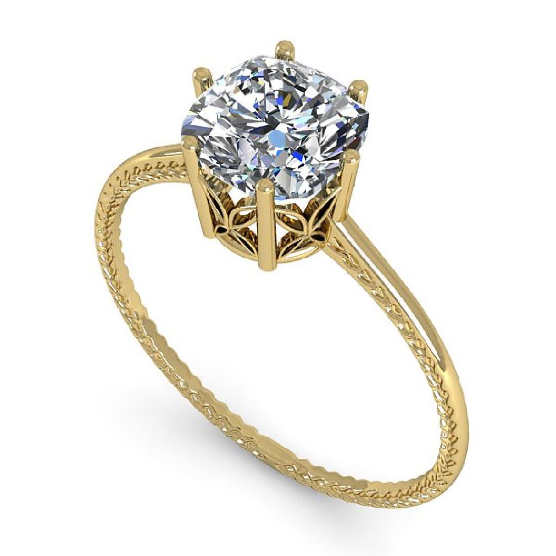 1.0 CTW VS/SI Cushion Diamond Art Deco Ring 14K Yellow - 2