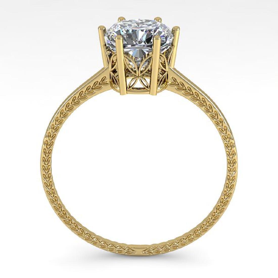1.0 CTW VS/SI Cushion Diamond Art Deco Ring 14K Yellow - 3