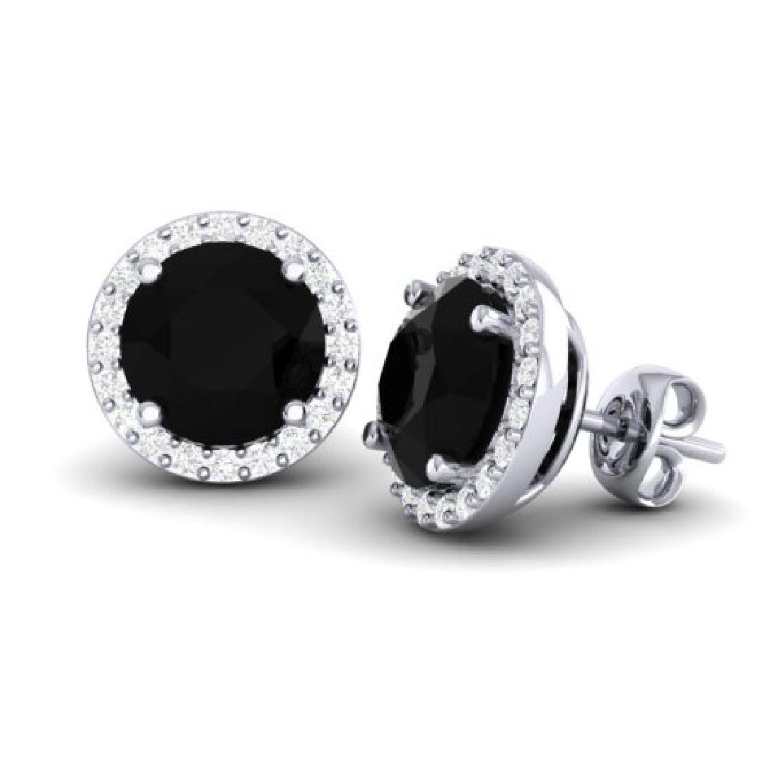 4 CTW Halo VS/SI Diamond Micro Pave Earrings Solitaire - 2