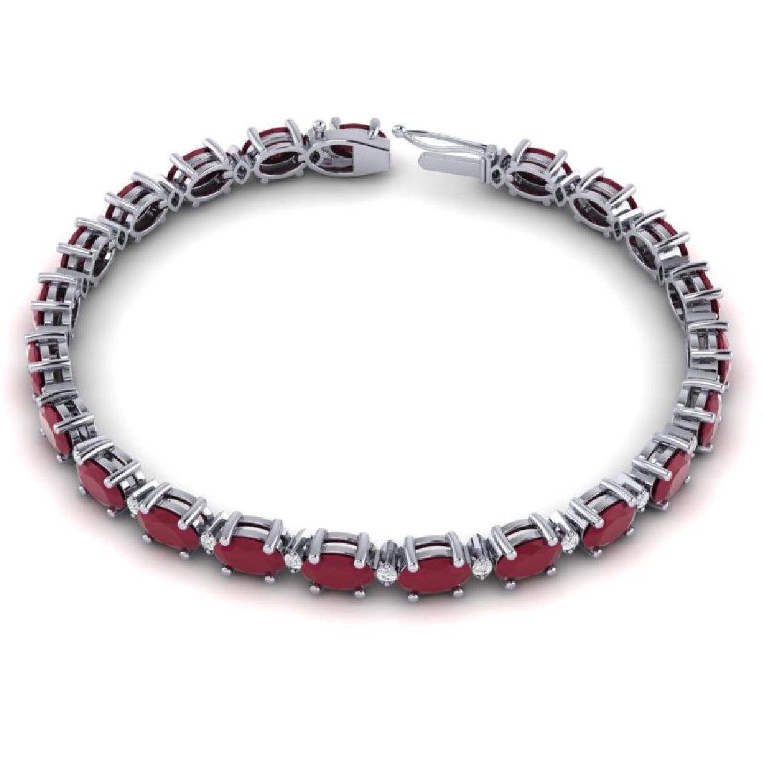 15 CTW Ruby & VS/SI Diamond Eternity Bracelet 10K White - 3