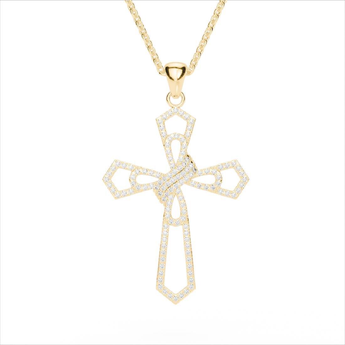 1 CTW Micro Pave VS/SI Diamond Cross Necklace 18K - 2