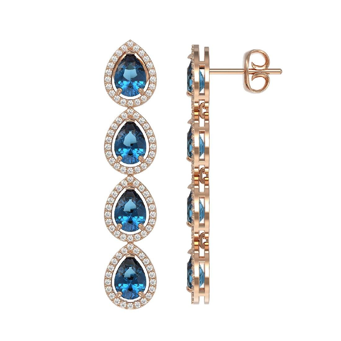 7.81 CTW London Topaz & Diamond Halo Earrings 10K Rose - 2