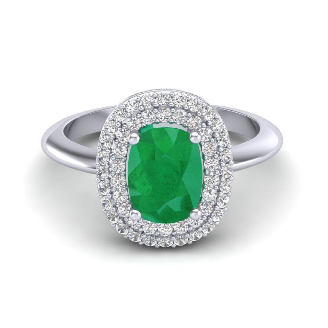 2.50 CTW Emerald With Micro VS/SI Diamond Ring Halo 14K