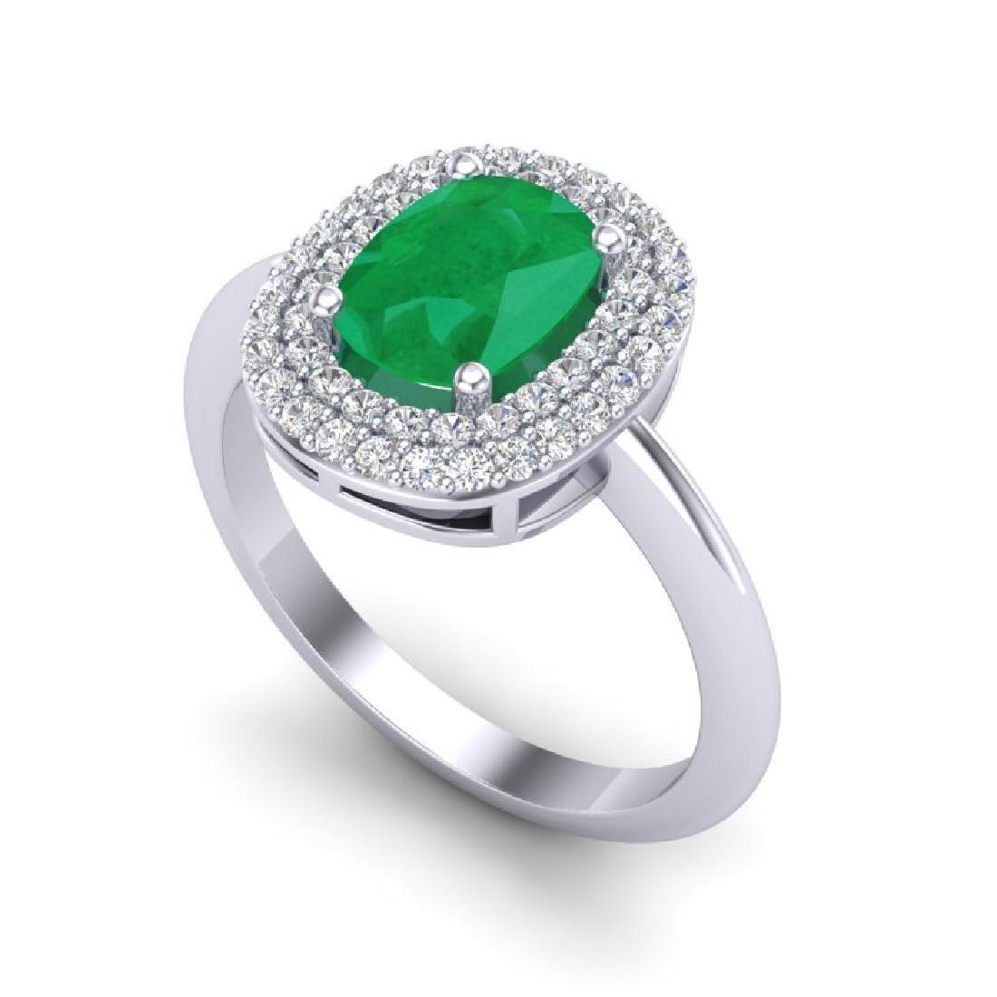 2.50 CTW Emerald With Micro VS/SI Diamond Ring Halo 14K - 2