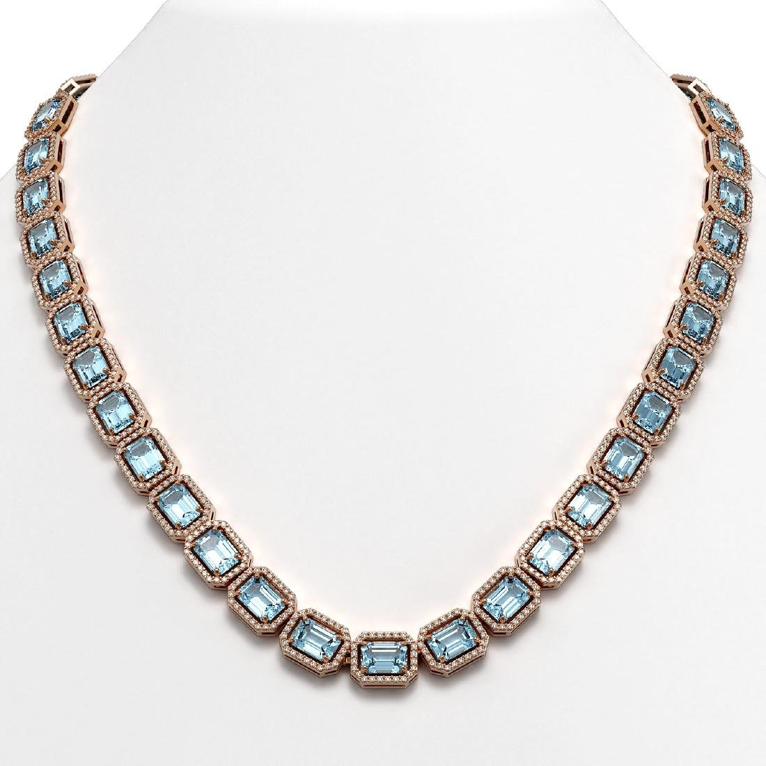 54.79 CTW Aquamarine & Diamond Halo Necklace 10K Rose
