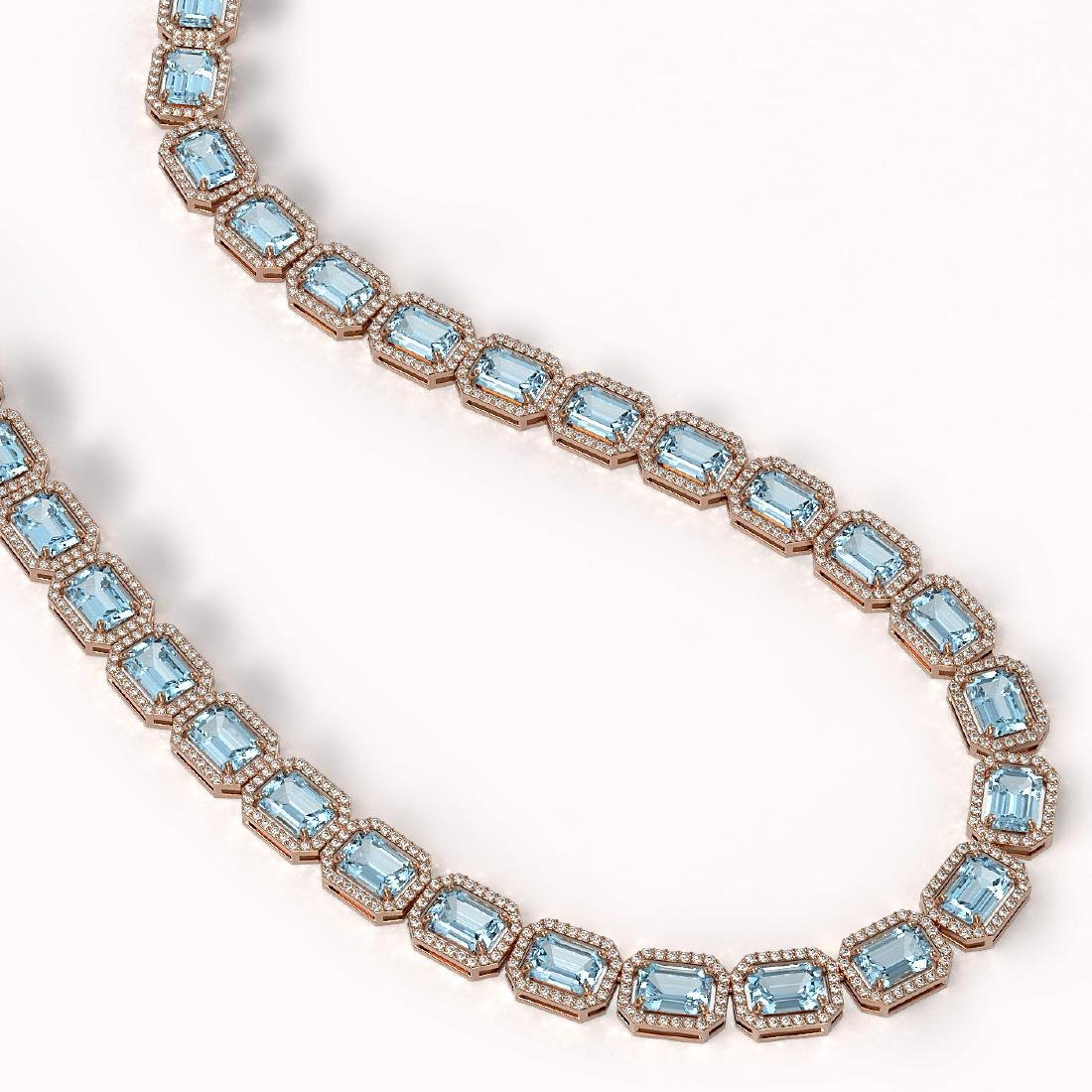 54.79 CTW Aquamarine & Diamond Halo Necklace 10K Rose - 2