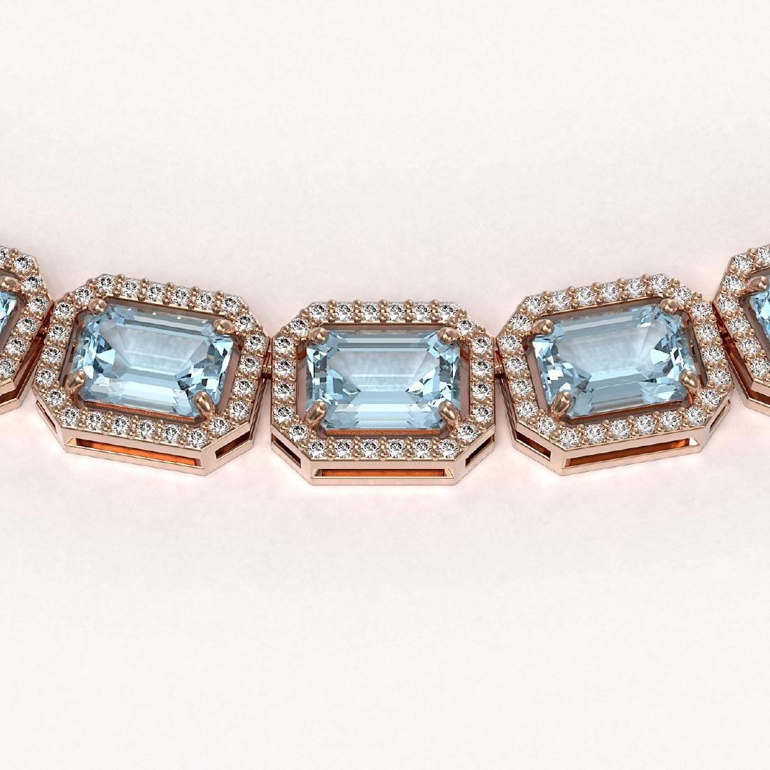54.79 CTW Aquamarine & Diamond Halo Necklace 10K Rose - 3