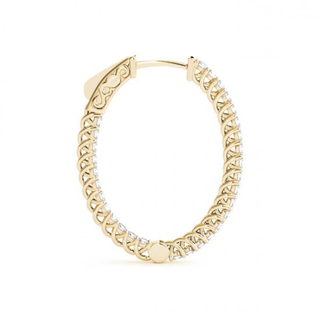3.65 CTW Diamond VS/SI Certified 40 Mm Hoop Earrings - 3