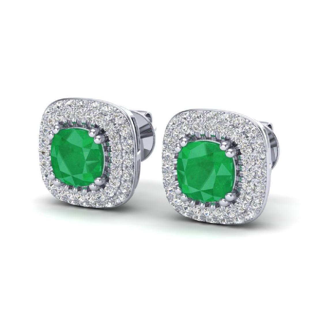 2.16 CTW Emerald & Micro VS/SI Diamond Earrings Halo