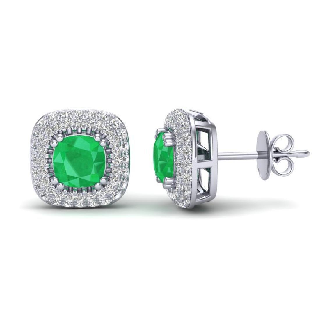 2.16 CTW Emerald & Micro VS/SI Diamond Earrings Halo - 2