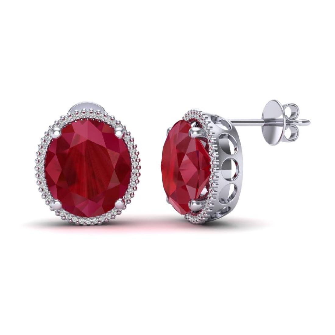 25 CTW Ruby & Micro Pave VS/SI Diamond Halo Earrings - 2